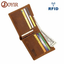 JOYIR Crazy Horse Leather Men Wallet RFID Card Holder Coin Purse Short Vintage Genuine Silm Wallets For 2046