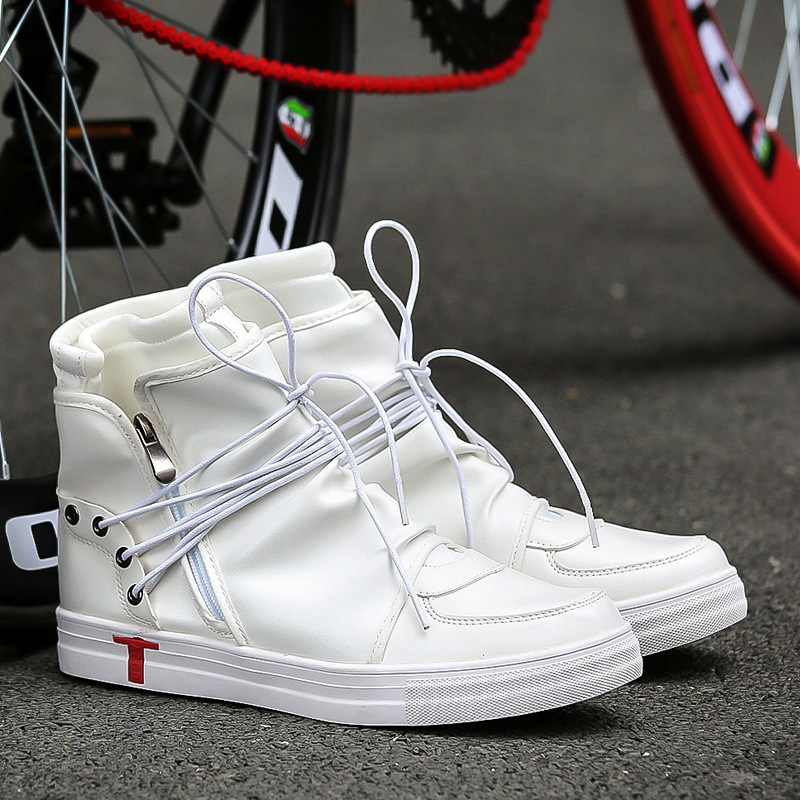 48a39c6e977c Hip hop dance Men soft leather white Shoes Fashion High top Men's Casual  Shoes Breathable cross tied kanye west boots Black-in Motorcycle boots from  Shoes ...
