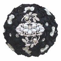 Nero Fiori Artificiali Bouquet Da Sposa Splendido Strass Decorazione di Papillon Bridal Bouquet Bridemaid Mariage W2913