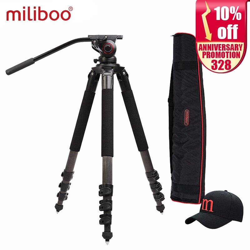 Miliboo MTT702B Nešiojamas anglies pluošto trikojis profesionaliam vaizdo kamerai / vaizdo kamerai / DSLR trikojiui su hidrauliniu rutuliniu galvute