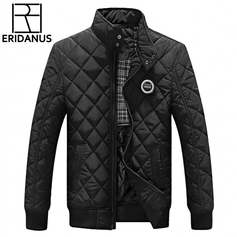 2017 Casual Quilted Jacket Men Warm Black Brand Outwear Chaquetas Plumas Hombre Mens Jackets Coat Stand Collar Slim Clothes X322 stand collar ruffle hem quilted coat