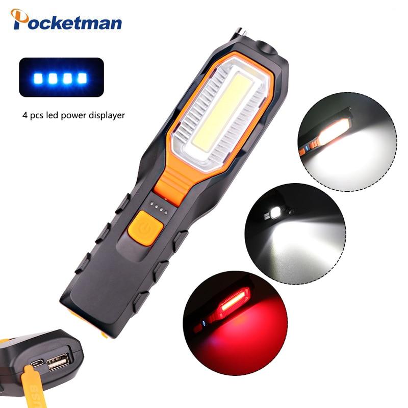 USB Rechargeable COB LED Work Light Flashlight Clip Torch USB Charging