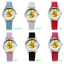 ot03 Free Shipping Top Fashion Brand Pocket Monster Pikachu Quartz Watch Children Girl Women Leather Watch Wristwatch Cut Lovely