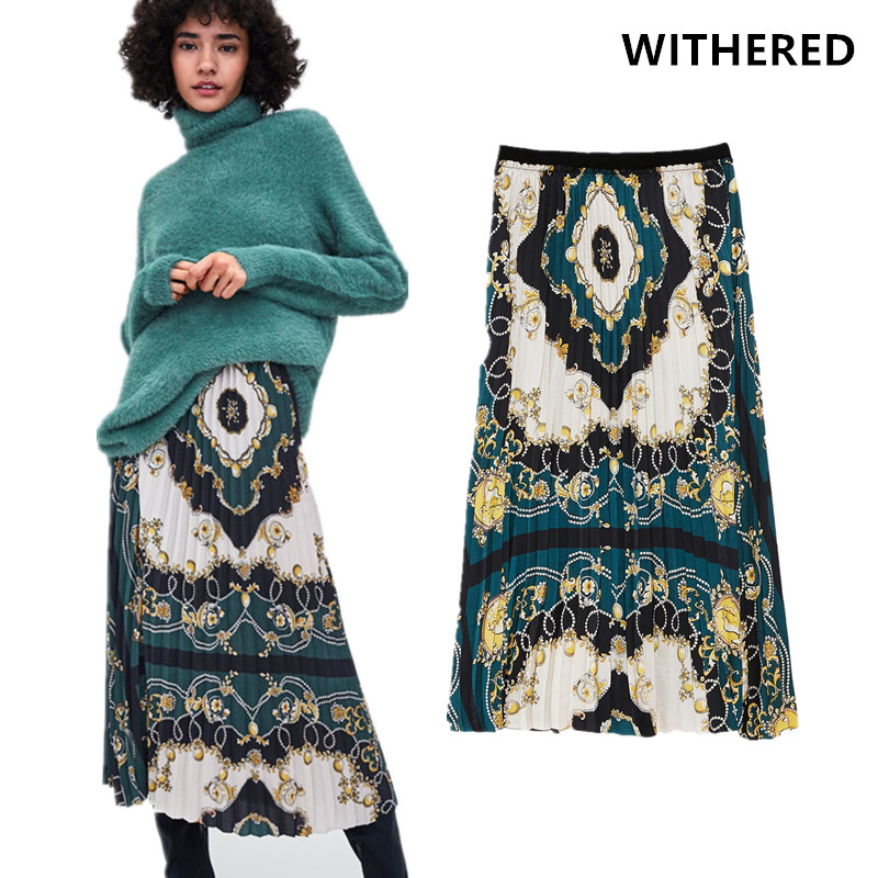 a6fc7a95fad Withered skirt women england style vintage Court positioning printing  collect waist pleated high waist skirts women plus size