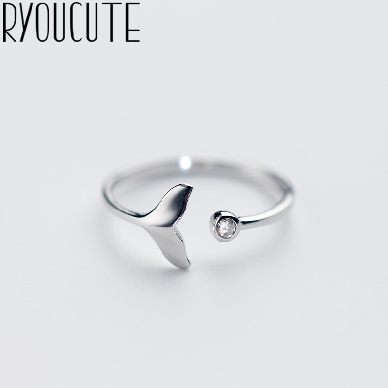 RYOUCUTE 100% Real Silver Color Jewelry Fashion Cute Crystal Mermaid Tail Rings for Women Statement Antique Ring Anillos