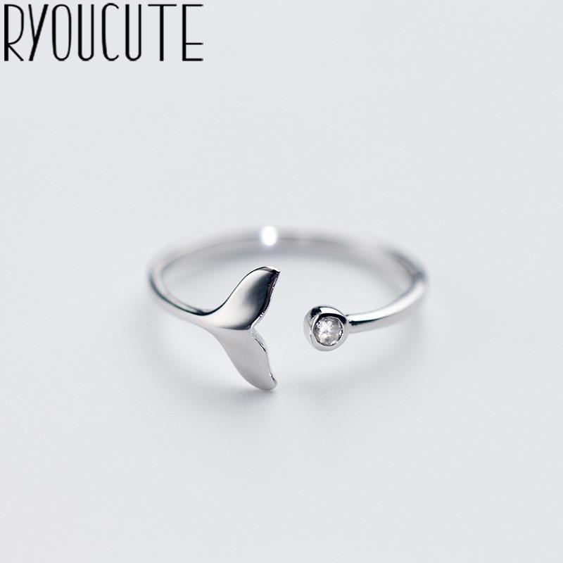 Женское кольцо в виде хвоста русалки RYOUCUTE, ювелирное изделие из 100% настоящего серебра с милыми кристаллами, эффектное античное кольцо