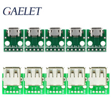 5/10pcs Type A Female USB to DIP 2.54MM PCB Board Adapter Converter /Micro USB to DIP 2.54mm Adapter Connector Module Board ZK30 35pcs 7value 5pcs pcb board kit smd turn to dip adapter converter plate sop msop ssop tssop sot23 8 10 14 16 20 24 28 smt to dip