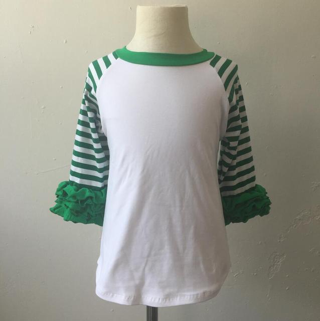 a176399f92f latest tops designs girls kid clothes ruffle shirt green stripe christmas  icing raglan boutique top ruffle