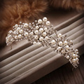 New Fashion Handmade  Pearl Beads Crystal Flower Rhinestone Hair Tiaras And Crowns For Wedding Hair Accessories