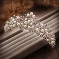 Nueva Moda Hecha A Mano de La Perla Perlas de Cristal Accesorios Para el Cabello Flor Del Pelo Del Rhinestone Tiaras Y Coronas Para Boda
