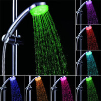 Lovely Pet Colorful Head Home Bathroom 7 Colors Changing LED Shower Faucet Water Glow Light New