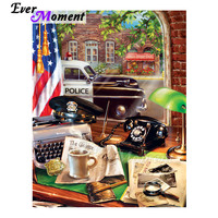 Ever Moment Diamond Painting Telephone Car US Flag Window Coffee Picture Of Rhinestone Square Diamond Embroidery Decor 3F1100