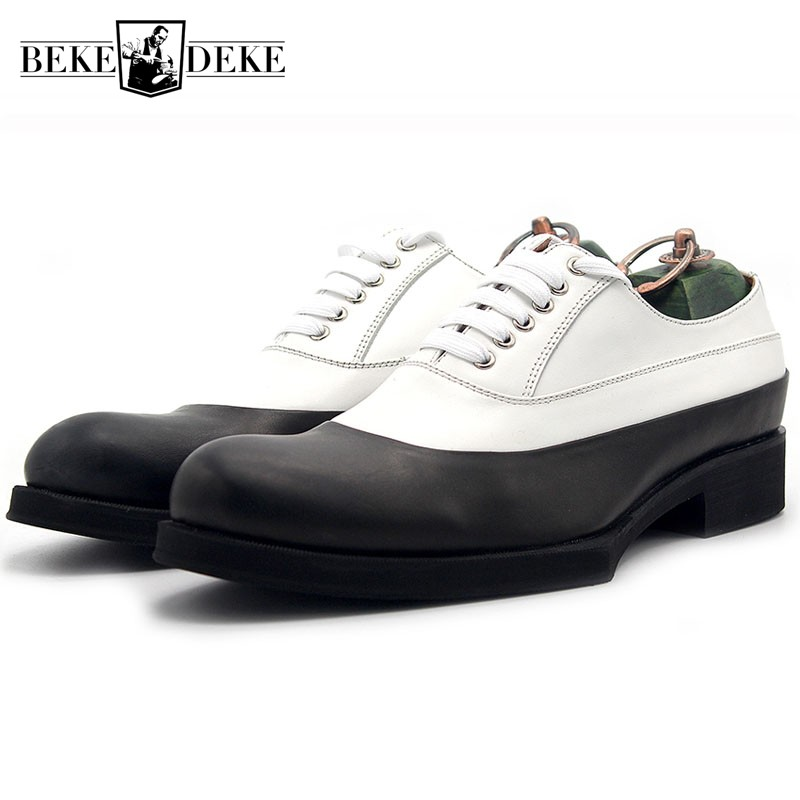 2019 NEW Panelled Oxford Shoes for Men Real Cow Leather Lace Up Formal Shoes Fashion Brand