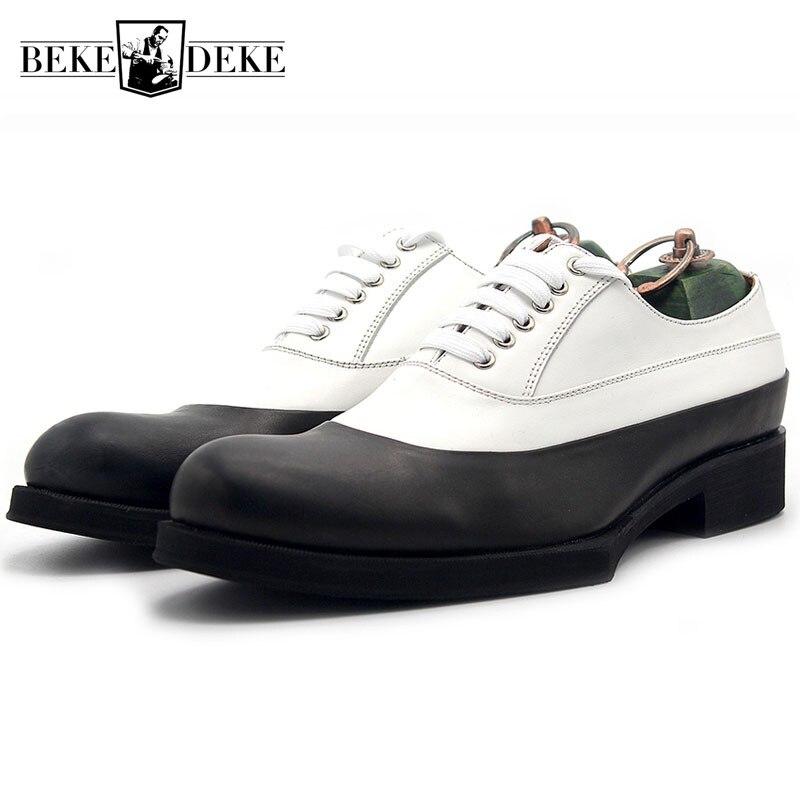 2019 nuevos zapatos Oxford con paneles para hombres zapatos formales de cuero de vaca Real con cordones de marca de moda Zapatos de boda para hombre plus tamaño-in Zapatos formales from zapatos    1