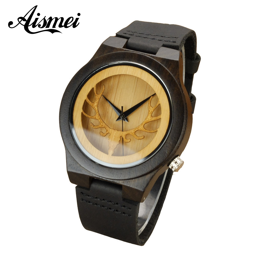 2018 Deer Head Hollow Design Men Women's Bamboo Wooden Watches Luxury Fashion Wood Quartz Watch With Black Genuine Leather Strap new fashion watches men lovely deer head bamboo wood watches quartz clock fashion casual leather strap wrist watch male relogio