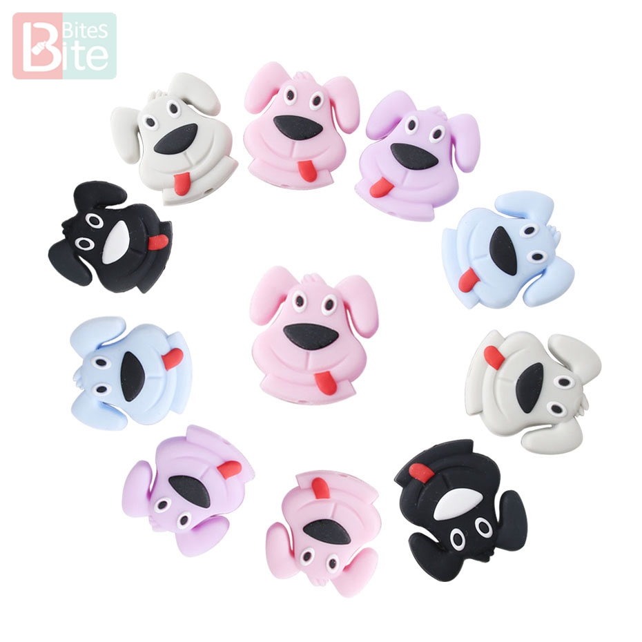Bite Bites 3pc Dog Silicone Beads Porcupine Teething Pacifier Chain Bpa Free Perle Silicone Food Grade Cartoon Baby Teether