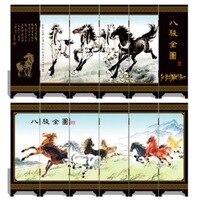 Мини складной Экраны 6 присоединился к панели декоративные роспись по дереву бебу портрет восемь породы Сюй Beihong 8 лошадей 3 размеры