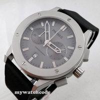 44mm parnis gray dial sandblast case quartz chronograph mens wrist watch P217