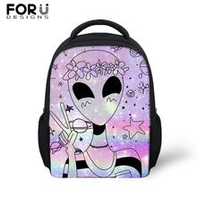 FORUDESIGS Alien Print Small School Bags For Girls Cute Cartoon Backpack Children Kindergarten Baby Schoolbag Kids Mochila
