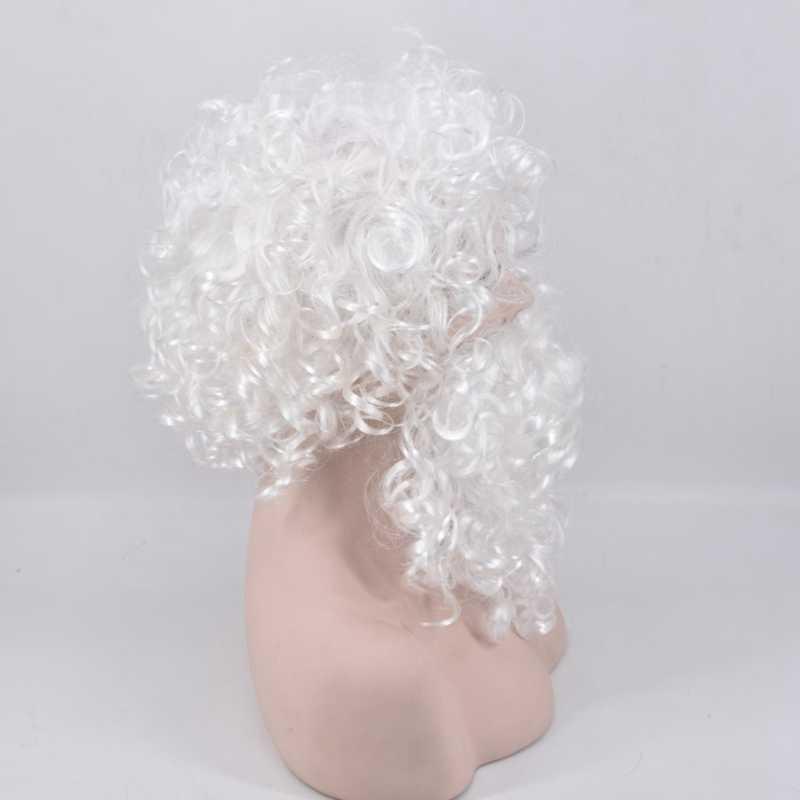 Glädje och skönhet Kort krusigt hår Vit Santa Paryk och Skägg Set - Syntetiskt hår - Foto 5