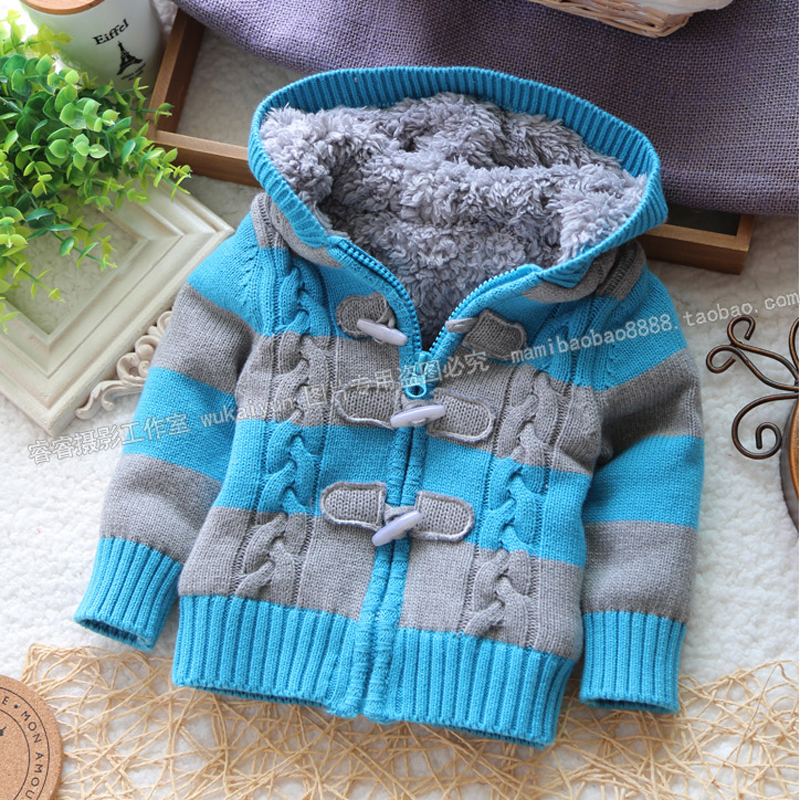 Free shipping JENYA New Arrival Baby winter Sweater Boys and Girls Hooded Sweaters Cool Stripe Fleece Lining Children Sweaters