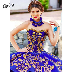 Image 3 - Royal Blue Ball Gown Quinceanera Dresses Strapless Neck Beaded Cascading Ruffles Sweet 16 Dress Organza Appliqued Masquerade
