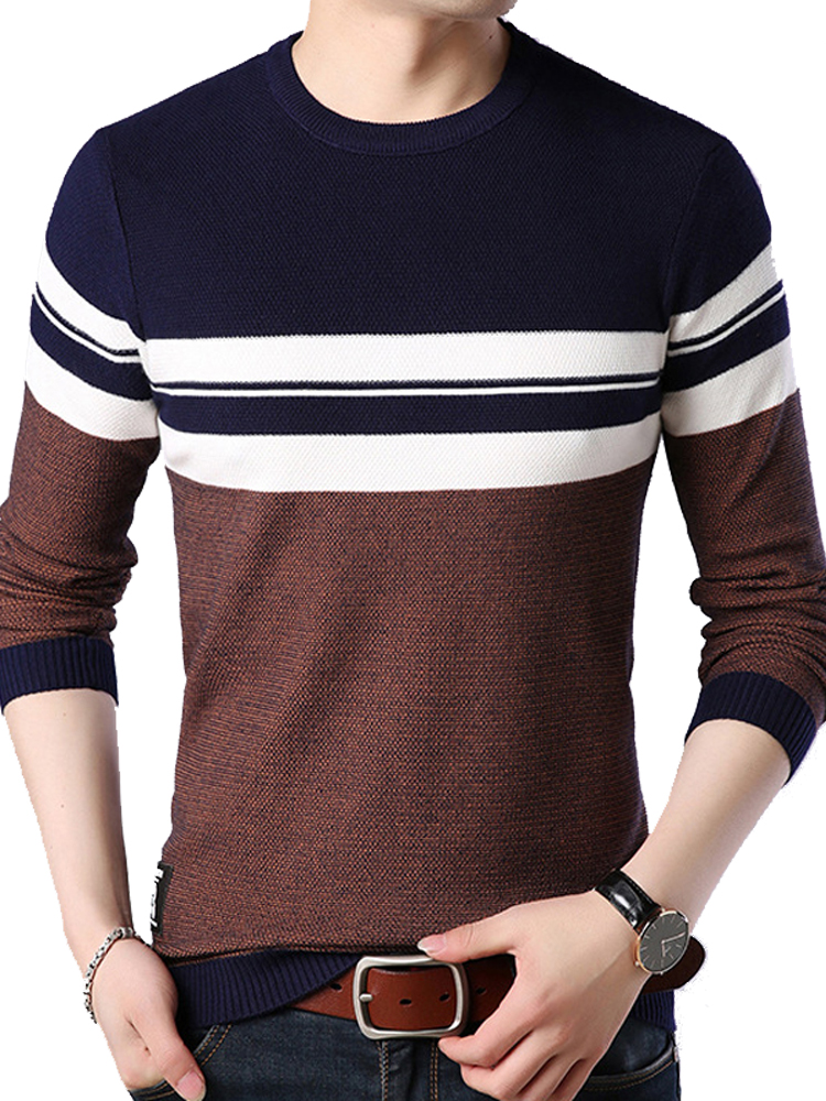 Liseaven Men Sweaters Spring Men's Pullovers O-Neck Sweater Mens Striped Long Sleeve Tops Male Pullover Sweater