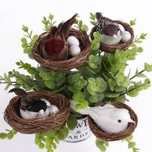 Creative Lovely Lanscape Χαριτωμένο φτερό Πουλιά Αυγά Nest Τεχνητό ζώο DIY Τέχνη Αρχική διακόσμηση Desktop διακοσμήσεις πτώση ναυτιλία