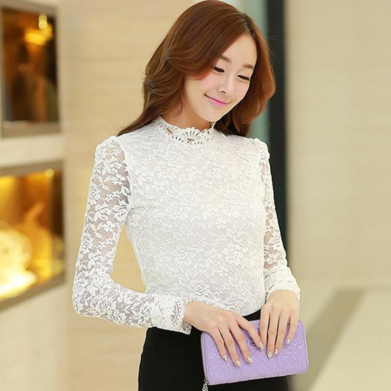 8e7b8b54673b White long sleeve lace tops for women elegant mock neck see through slim  fit shirts ladies black formal office work blouses-in Blouses & Shirts from  Women's ...