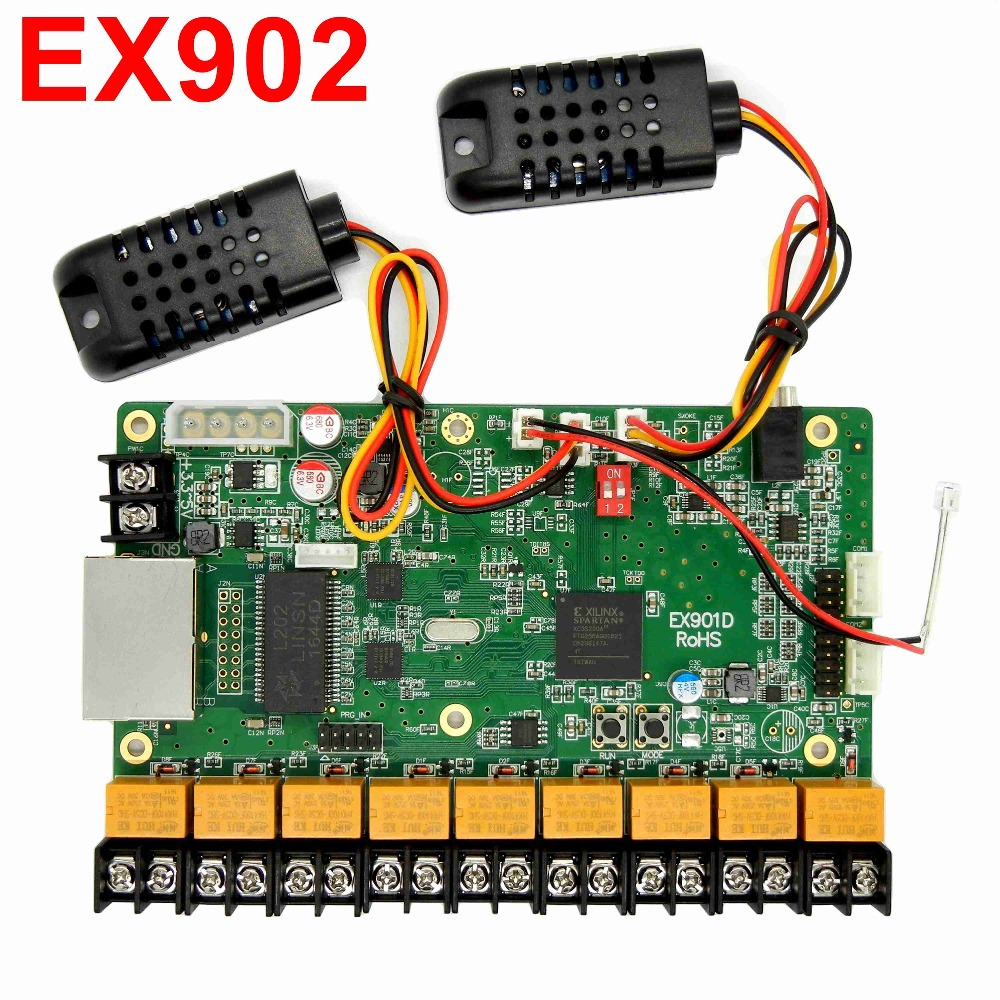 EX902 / EX902D multifunction board Full color display LED control card temperature & humidity& brightness support RGB Linsn card hd 901d full color led control card functional board temperature humidity brightness sensor infrared receiver support module