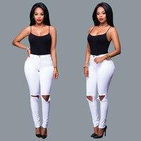 Europa en de Verenigde Staten verkopen hot stijl Russische dames gat in denim jeans super wit stretch voeten jeans