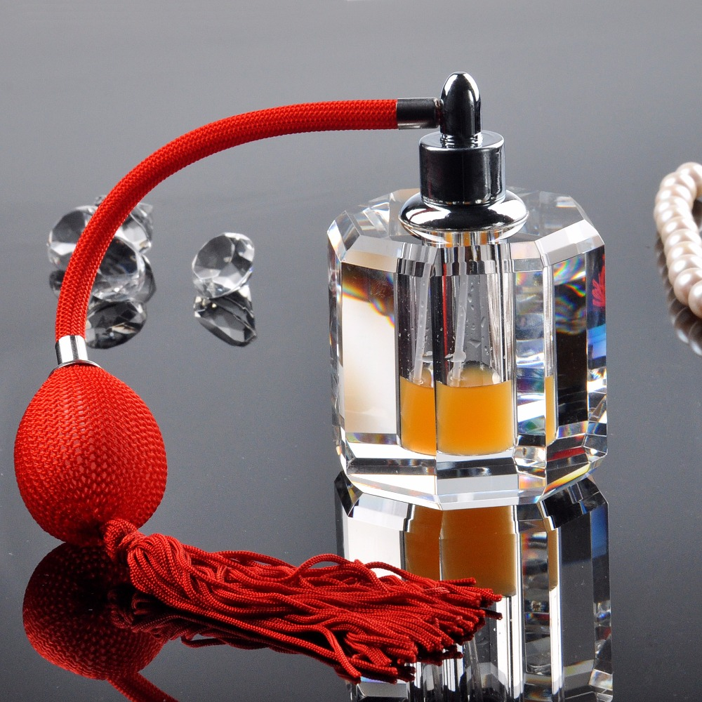 12ML Clear Empty Crystal Refillable Perfume Women Travel Sample Bottles Red Long Red Tassels Spray Travel Atomizer Containers