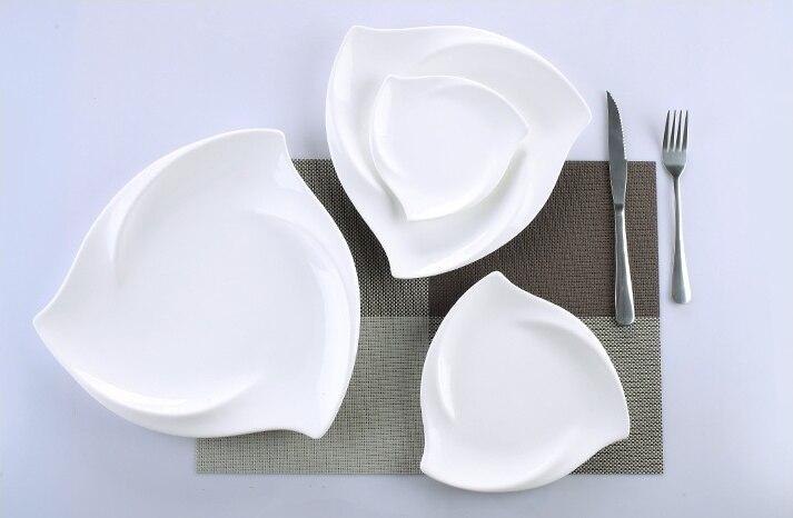 Vaisselle de table irrégulière en porcelaine | Service de table en céramique tourbillon, vaisselle décorative pour le Dessert, la salade, le riz et les nouilles - 3
