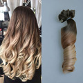 Blond Ombre Clip Ins Hair Extension 100% Virgin Remy Human Clip in Hair 100g 7Pcs/set Two Tone Extension Free Shipping BY68