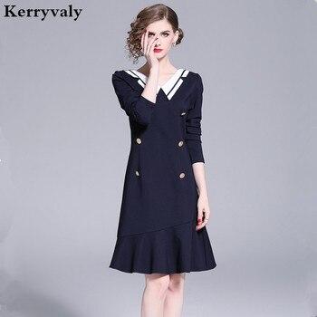 fc88cb459fef1a3 Весеннее темно-синее платье-Русалка с длинным рукавом женское платье Ropa  De Mujer 2019 низ вечерние платье Gatsby Robe Moulante уличная одежда K6415