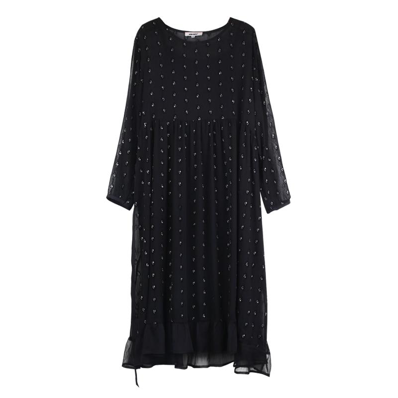 Chiffon Dresses Black Plus Size Fashion Vintage Fashion Spring 2019Female Oversized Dot Print Belt Long Sleeve Summer Dress Lady in Dresses from Women 39 s Clothing