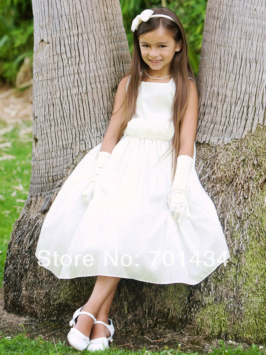 Elegant White Satin Flower Girl Dress With Flowers Tea Length Dress