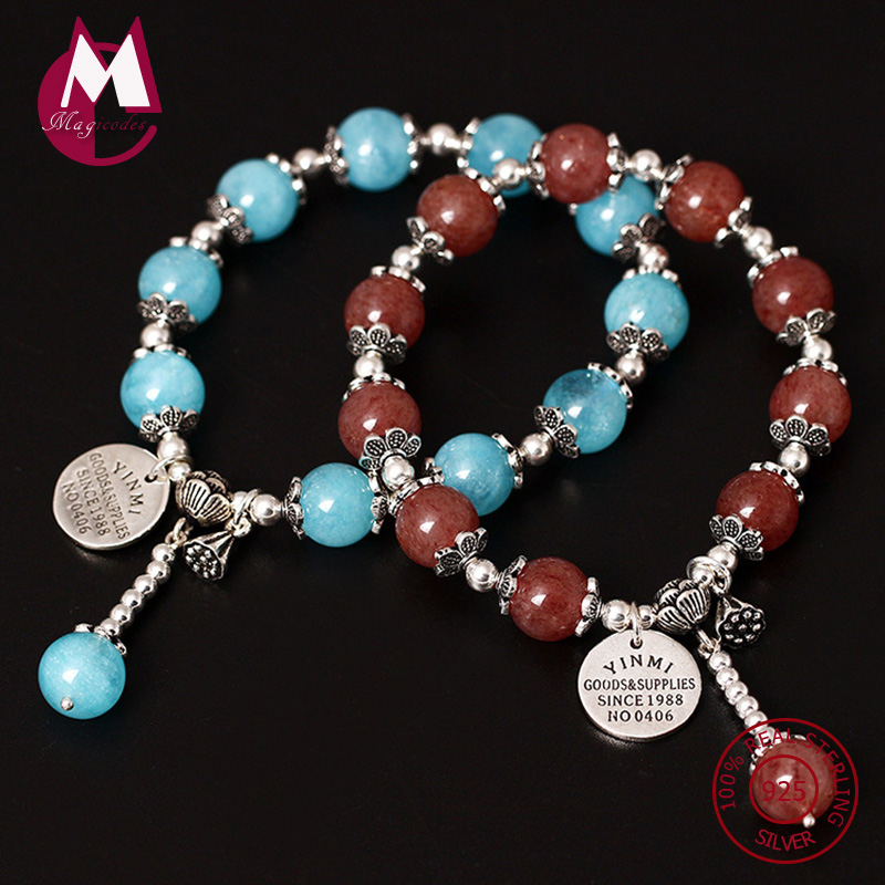 NEW S925 Sterling Silver Bracelet For Women Natural Aquamarine DIY Beads Bracelets Bangles Handmade Tassel Lotus