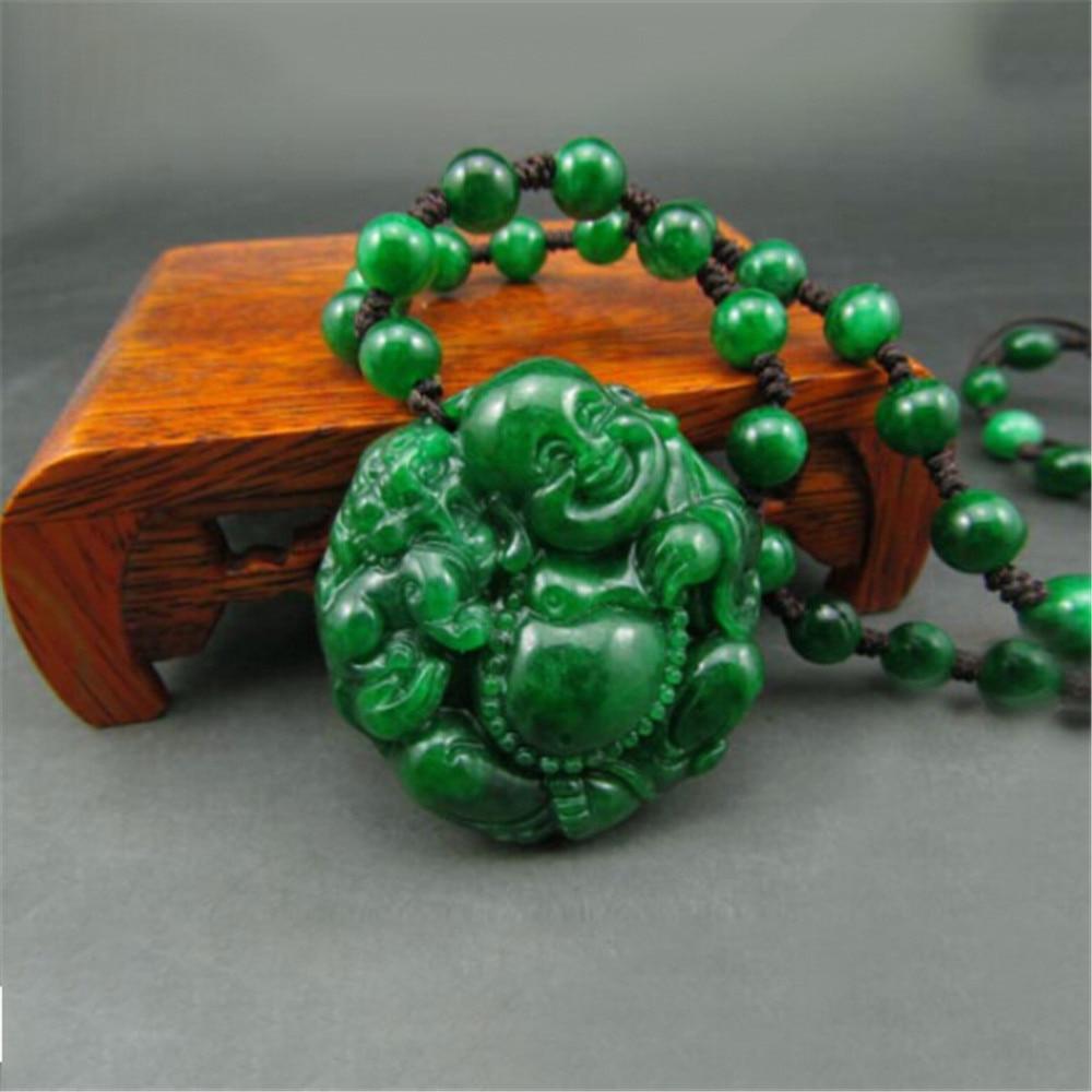 Image 3 - Handmade Natural Jadeite Maitreya Buddha Jade Pendant Genuine Dried Green Iron Dragon laughing Buddha Pendant Necklace Wholesale-in Pendants from Jewelry & Accessories