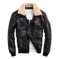 Leather Jacket Menfolk Wool Collar jaqueta de couro masculino 100% Genuine Cow Leather Short Aviator Coat Flight Outerwear
