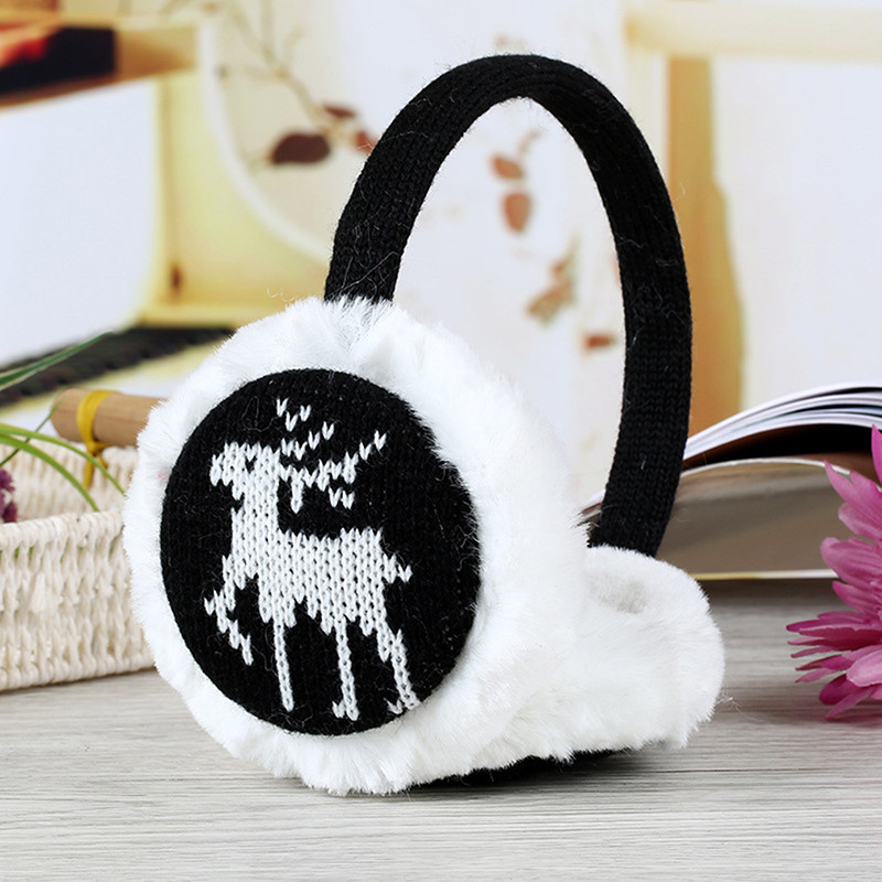 Deer Snowflake Thickening Plush Earmuffs Women Winter Warm Earmuffs Comfort