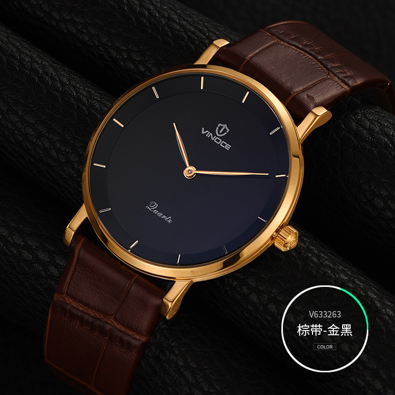 New Fashion top luxury brand VINOCE watches men quartz-watch Leather ultra thin dial clock relogio masculino fashion watch top brand oktime luxury watches men stainless steel strap quartz watch ultra thin dial clock man relogio masculino
