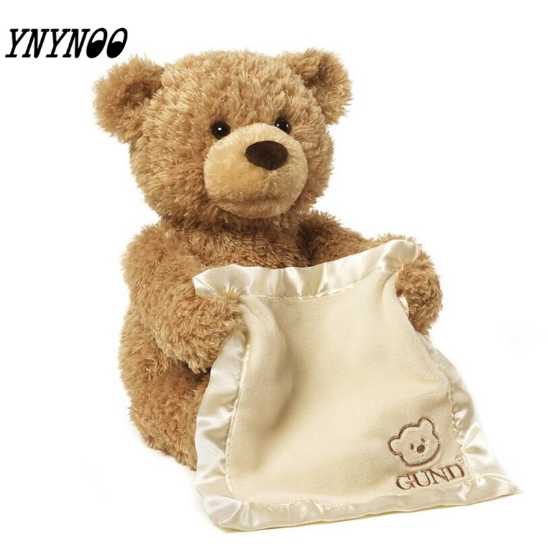 (YNYNOO)Peek a Boo Teddy Bear Play Hide And Seek Lovely Cartoon Stuffed Kids Birthday Gift 30cm Cute Music Bear Plush Toy 2017 new beanie boo ty lovely teddy bear plush toys stuffed doll kids birthday for kids babys children gift toy stuffing mr63