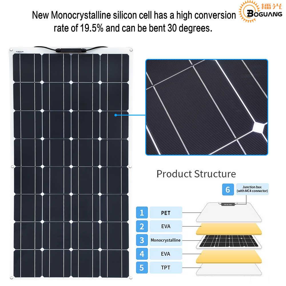 Boguang Solpanel 3 pcs 100w watt 300W Flexible Solar Panel Cell Module RV Car Marine/Boat/Home Use 12V 24V 36V Zonnepaneel