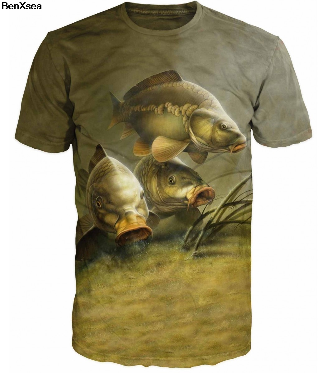 2018 Cool MAN Animal Printed Carp Fishing MAN   T     Shirt   Unique Fashion Animal Printed Desgin   T     Shirt   Top Tees