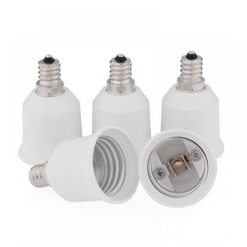 Premium White E12 To E27 Base LED Light Bulb Lamp Adapter Converter Screw Socket(1 pcs)