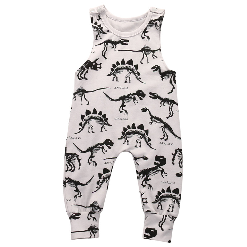 2019 Kids Baby Girl Boy Infant dinosaur Romper sleeveless long Playsuit Jumpsuit One piece Animals Outfit 0-18Months