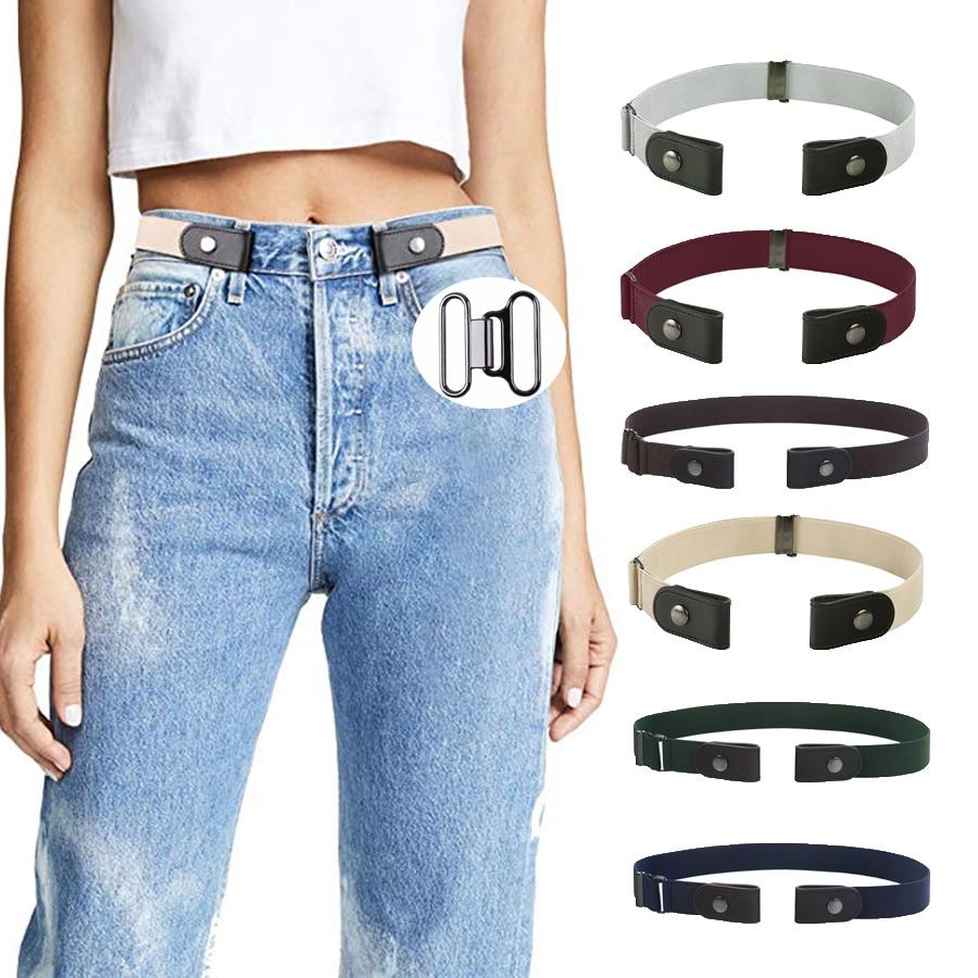 AWAYTR Unisex Buckle-Free Elastic Belt For Jeans Pants Dress Free Stretch Waist Belt For Women Men No Buckle Adjustable Belt(China)