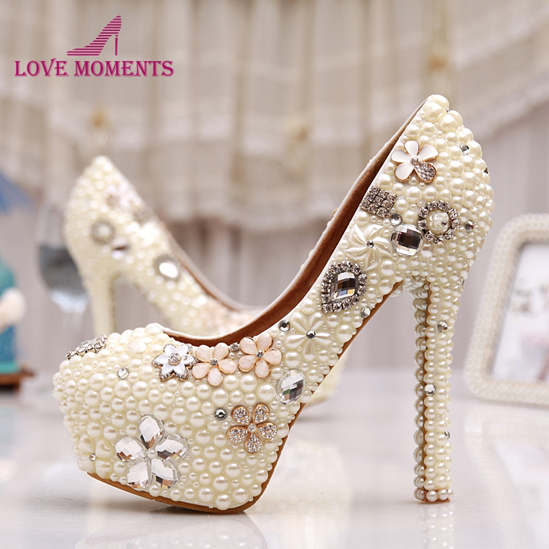 Pearl Women Shoes High Heel Round Toe High Heels Nightclub Stiletto Platforms Wedding Shoes Ivory Pearl Bridal Shoes Pumps fashion white elegant stiletto heel toe with rhinestone wedding bridal shoes platforms comfortable pumps round toes