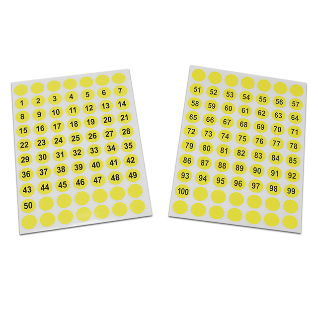 7500pcs lot 1cm round yellow number sticker tags 1 100 retail self